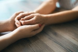 Hands in hands close up
